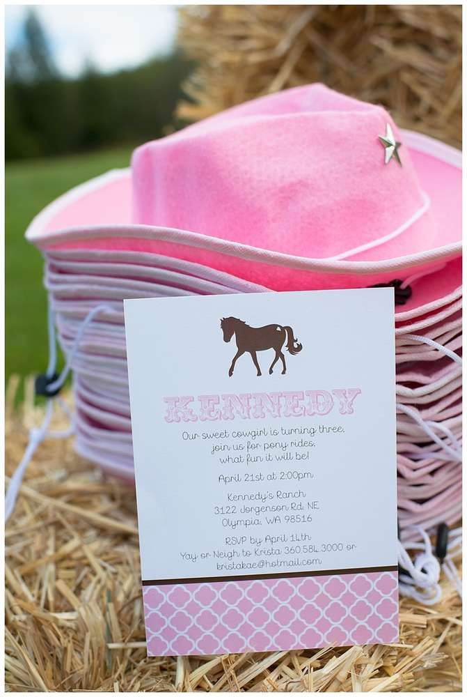 wording0th birthday party invitation%0A Cowgirl hat favors at a pony birthday party  See more party ideas at  CatchMyParty