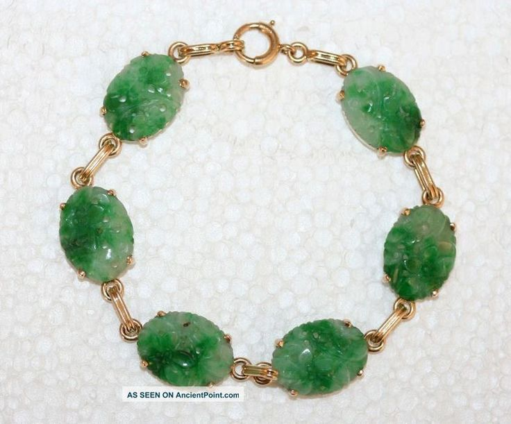 Antique Chinese 14k Yellow Gold Carved Apple Green Jadeite