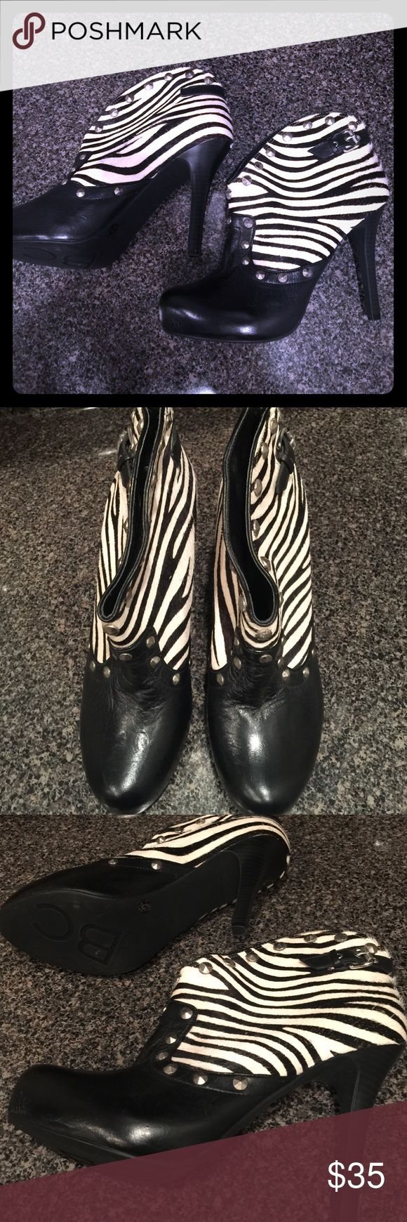 Bcbgeneration zebra heel booties studded Great condition. BCBGeneration Shoes Heeled Boots