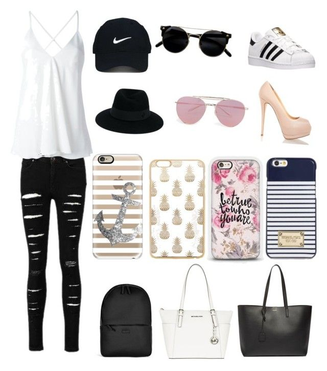 """""""Untitled #5"""" by elochap on Polyvore featuring adidas, Dondup, Nike Golf, Maison Michel, Boohoo, Casetify, MICHAEL Michael Kors, Rains and Yves Saint Laurent"""