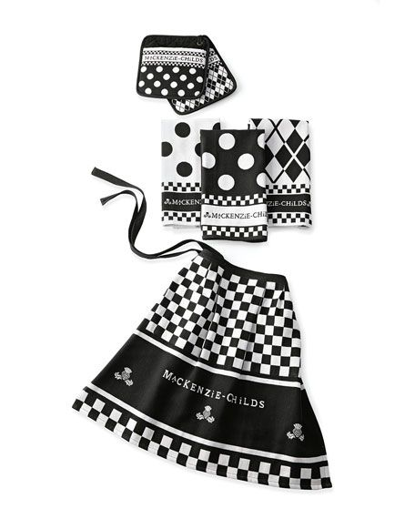 """MacKenzie-ChildsBlack & White Kitchen Linens Set  $88.00 