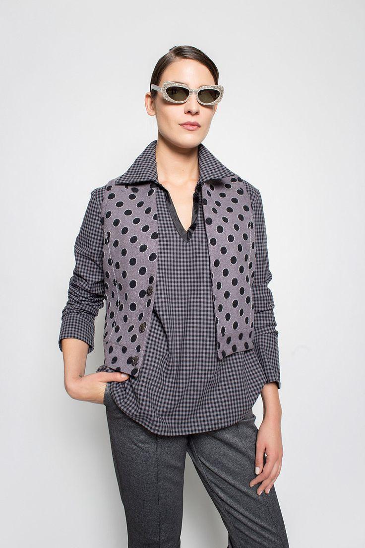 #lafemmemimi #fashion #prague #autumn #winter #2015 #lookbook #dots #grey #vest #check #top #trousers