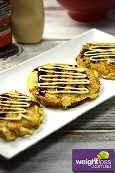 Japanese Savoury Pancakes. #HealthyRecipes #DietRecipes #WeightLossRecipes weightloss.com.au