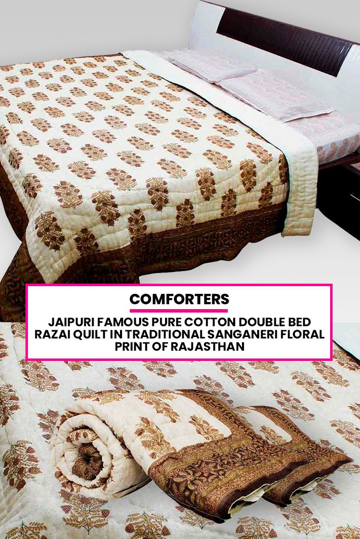 524f4af6e4 Jaipuri famous Pure Cotton Double Bed Razai Quilt in traditional Sanganeri  Floral print of Rajasthan. These good looking, fluffy, hand-made Indian  quilts ...