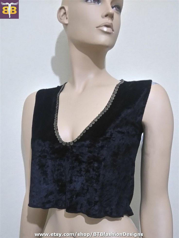 Velvet crop top, black velvet top, velvet blouse, velvet bustier, velvet bralette, velvet v neck top, sleeveless crop top,sleeveless tshirt by BTBfashionDesigns on Etsy