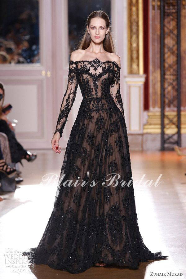 Hot Sale Strapless Long Sleeve See Through A Line Floor Length Appliques Lace Bridal Dresses Zuhair  Murad Wedding Dress Black-in Wedding Dr...