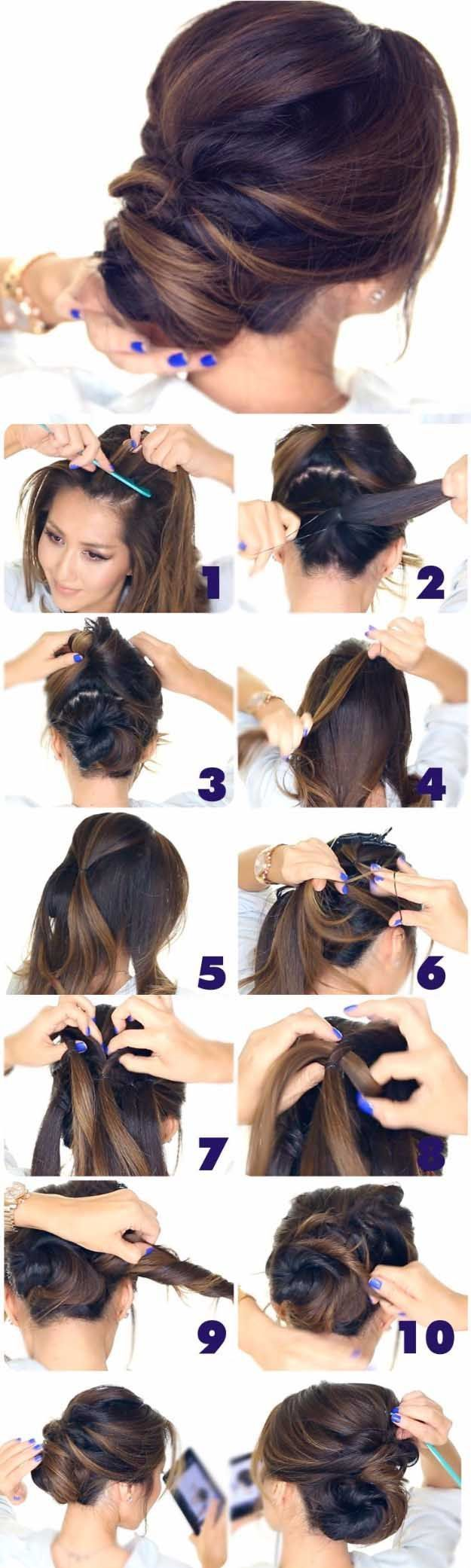 Best Hairstyles for Brides - 5 Minute Elegant Chignon- Amazing Hair Styles and Looks for Half Up Medium Styles, Updo With Long Hair, Short Curls, Vintage Looks with Veil, Headpieces, or With Tiara - Wedding Looks for Girls With Round Faces - Awesome Simpl