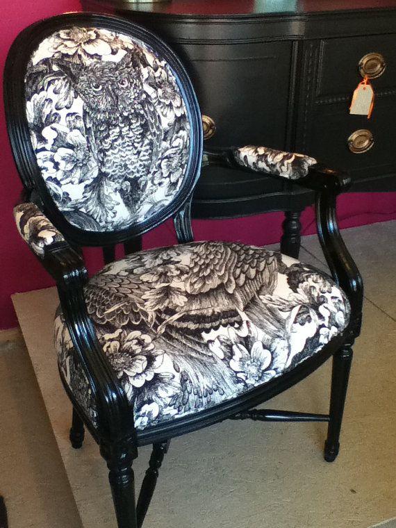Love This Pattern   Vintage Louis Chair Upholstered In Black By  Redesignrestoration
