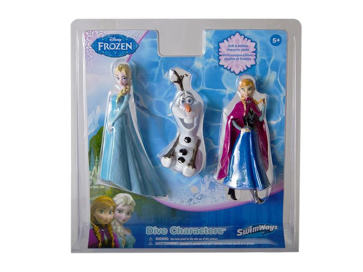 SwimWays Disney Frozen Dive Characters - 3-Pack. 3-pack of soft, flexible dive sticks shaped like characters from Frozen!. Watch as each dive character sinks to the bottom, waiting to be retrieved. Great dive toys for swim practice as the bright colors are easy to spot. Each pack includes 1 Elsa, 1 Anna and 1 Olaf dive character. Recommended for ages 5 and up.