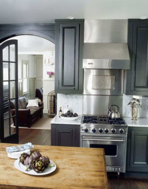 warm wood, gray cabinets & stainless steel appliances