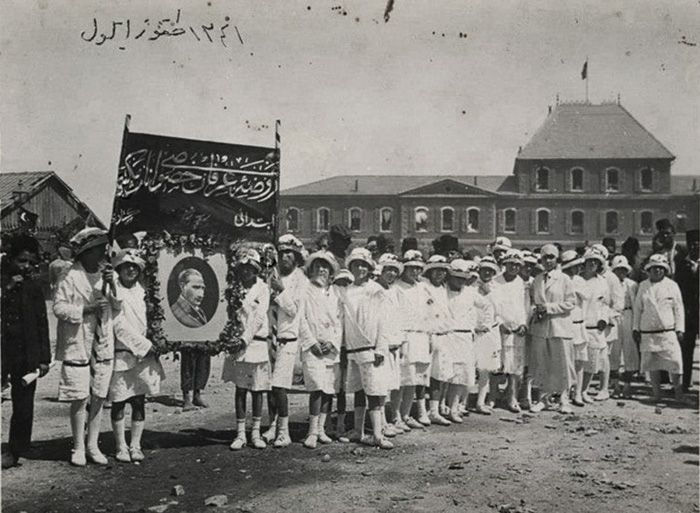 Liberation celebrations of 9 September 1341 (1924) in front of the Basmane train station, Izmir.