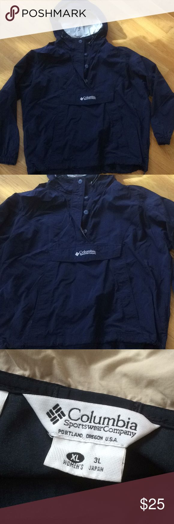 Columbia Womens Windbreaker with a Hood Cinches at waist if needed, button up, with a hood! Perfect condition! Columbia Tops Sweatshirts & Hoodies