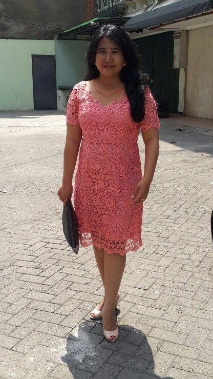 #peachcolour #lace #dress