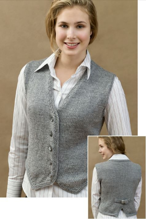 "Free Knitting Pattern for Vested and Stylish - Classic buttoned vest in bust sizes 30-32 (34-36, 38-40-42-44)"". Designed by Kathleen Sams for Red Heart"