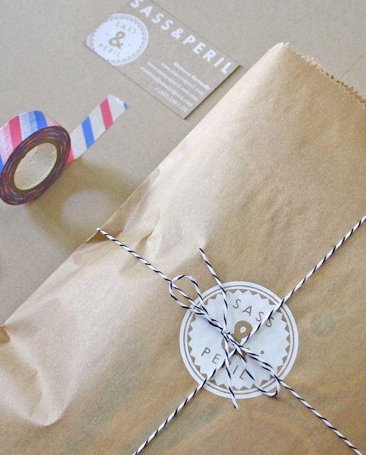 This has everything I want in homemade packaging. -Screen Printed bags by sass & peril