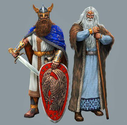 God of war and confrontation Perun (favorite god of the Vikings-Varyags) and the God of domestic cattle Veles (the most revered god of the Slavs).
