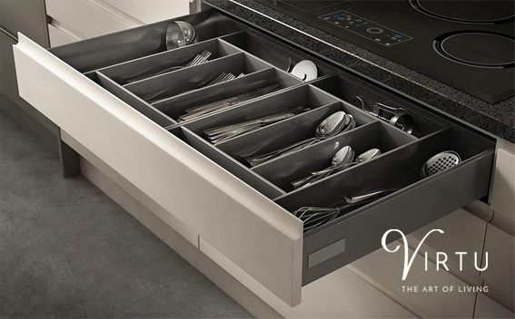 Metal Cutlery Insert. Modern and hardwearing and suitable for all types of dinnerwear and utensils - available in 450 - 1000mm. #TheArtofLiving