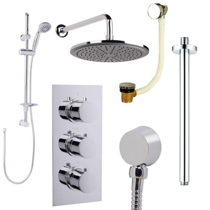 Concealed Triple Shower Diverter Valve Chrome Head Slide Rail Kit & Bath Filler
