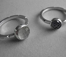 Black and white stones rings