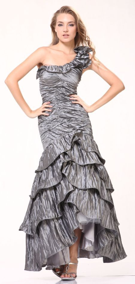 Charcoal Dress Layered Skirt Ruffled One Shoulder Mermaid Prom Dress  $117.99