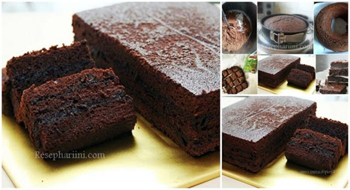 Brownies Milo kukus tanpa mixer