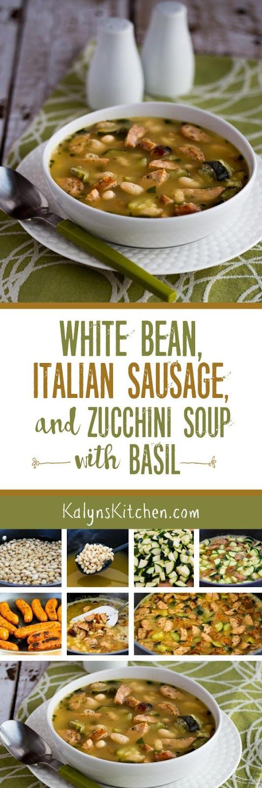 This White Bean Soup with Turkey Italian Sausage, Zucchini, and Basil is AMAZING! This is a low-glycemic soup; for lower carbs, use more sausage and less beans. [found on KalynsKitchen.com]