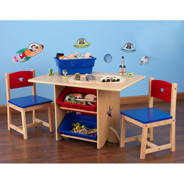 Painting of Simple and Minimalist Table and Chair for Toddlers