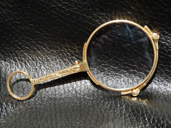 14k Solid Gold Eyeglass Frames : Antique Solid 14K Gold Lorgnette Eyeglasses Edwardian 1900 ...