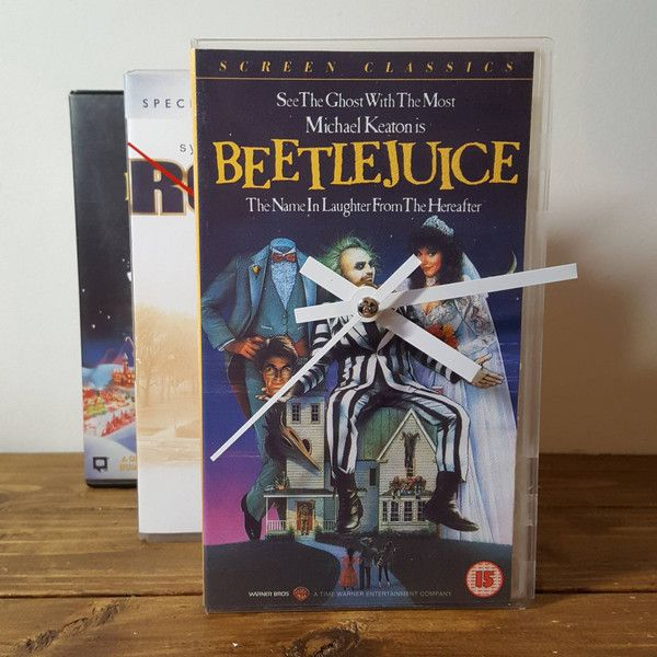 Vintage Retro Beetlejuice Original Vhs Case Clock Freestanding Desk... ($13) ❤ liked on Polyvore featuring home, home decor, clocks, grey, home & living, home décor, battery operated clock, handmade clocks, grey clock and gray home decor