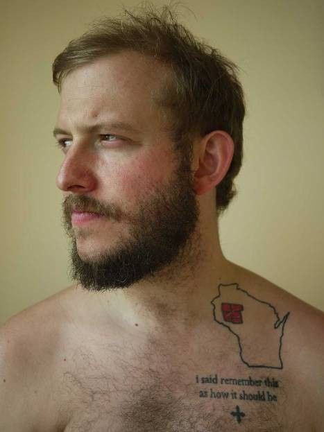 Justin Vernon's Wisconsin tattoo. Love Bon Iver and I love that he's from Wisco!