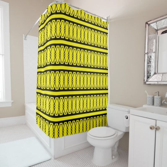 Yellow Bathroomideas: Authentic Art Deco 1920's Pattern Shower Curtain
