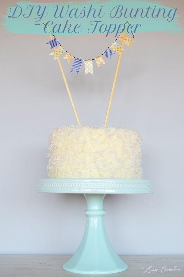 DIY Washi Bunting Cake Topper