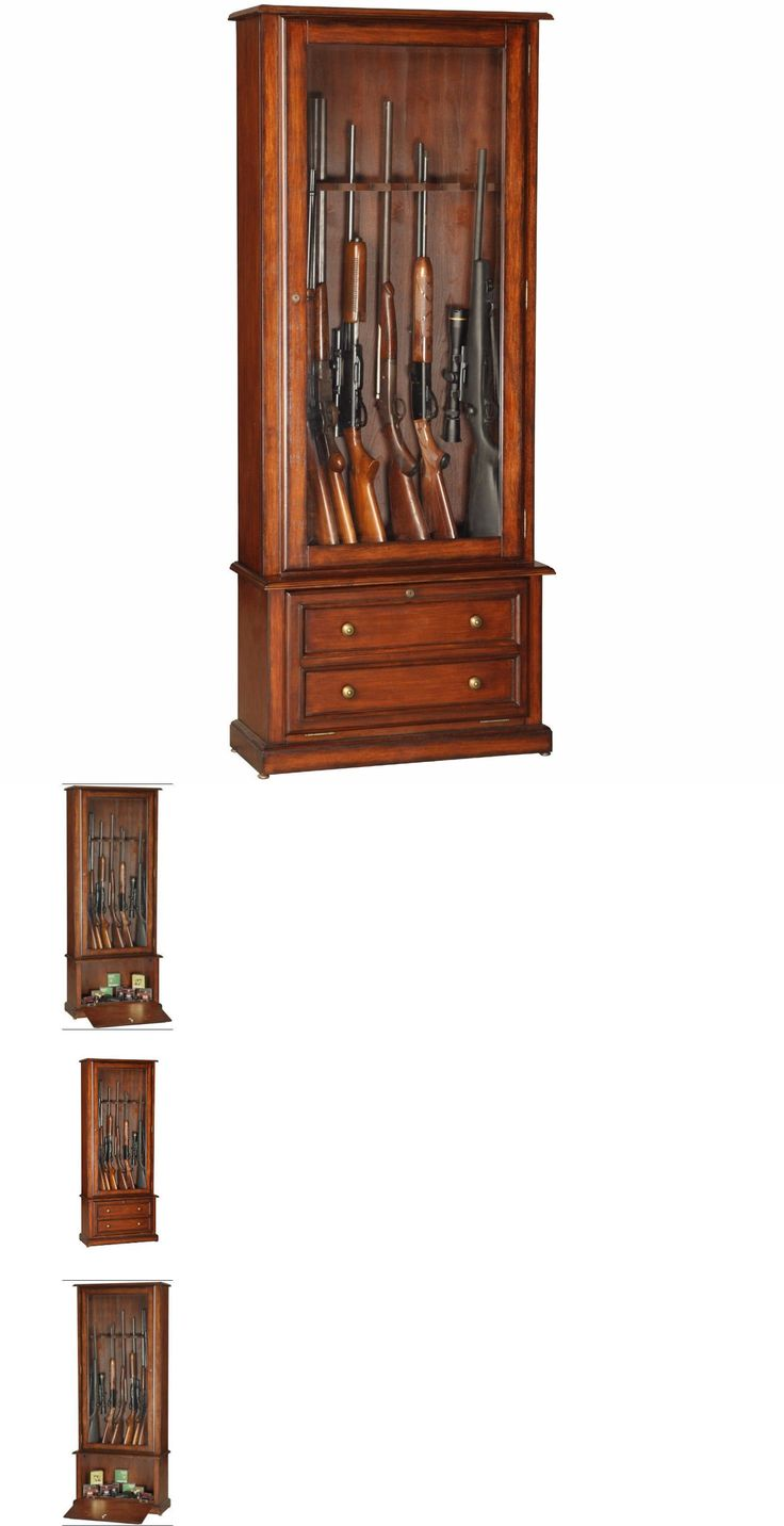 Cabinets and Safes 177877: Locking Gun Display Cabinet For Sale Wood Collectibles Shotguns Rifle Rack Case BUY IT NOW ONLY: $362.95