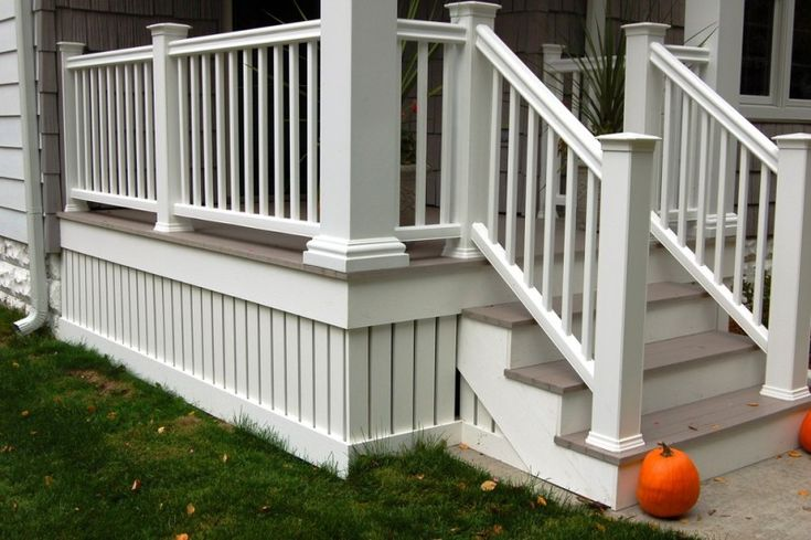 composite decking and railing idea with composite deck skirting of Raised House Skirting: Smart Solution for Hiding Piers and Dirt in Aesthetic Way