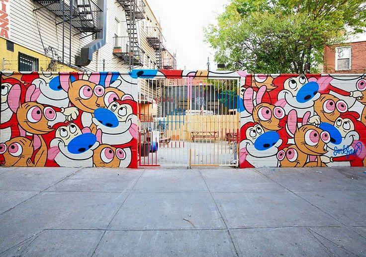 Street Artist JerkFace Creates Ren and Stimpy Mural in Brooklyn – nerdy nerdypants