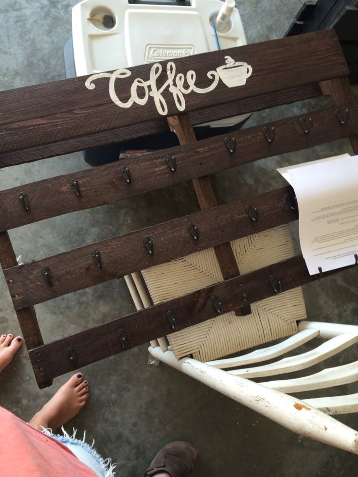 1000 ideas about coffee cup holder on pinterest coffee for Coffee rack diy