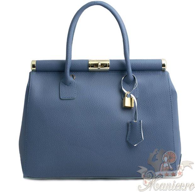 Geanta piele albastru prafuit - Geanta eleganta din piele naturala este o geanta eleganta, distinsa, perfecta pentru a-ti accesoriza tinuta cu stil.