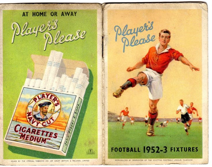 Player's Please football fixtures card for 1952-53 advertising Player's Navy Cut cigarettes