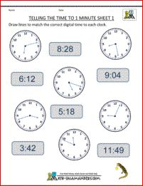 Telling the time to 1 minute: match the analogue and digital times