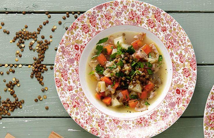 Oppskrift på linsesuppe med bacon og rotgrønnsaker ©FOTO: Go Green