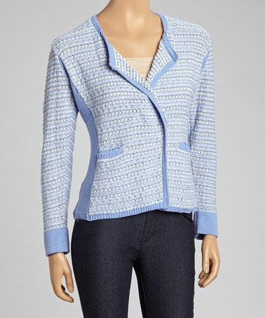 Periwinkle & Cream Jacket by Willow #zulily #zulilyfinds