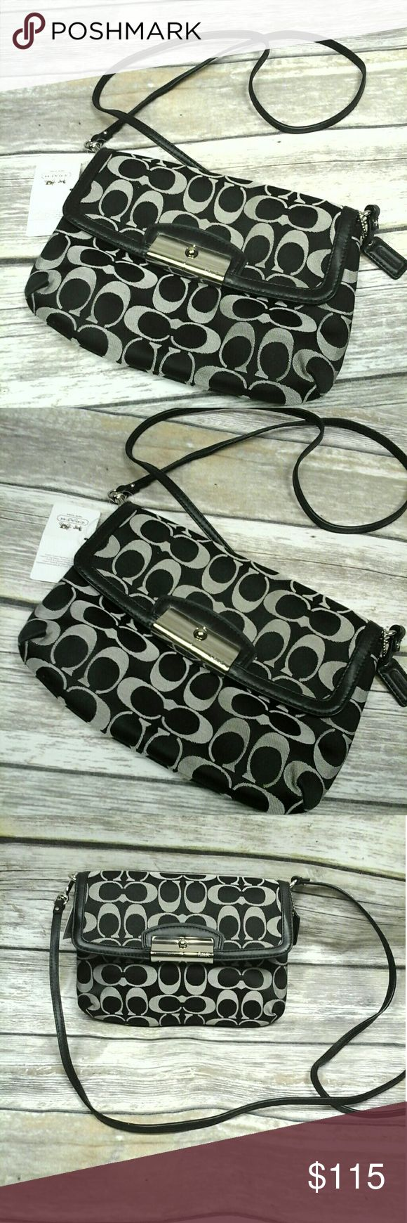 """COACH KRISTIN SIGNATURE SATEEN FLAP CROSSBODY Signature sateen fabric with leather trim Inside multifunction pockets Flap closure, fabric lining Longer strap for shoulder or crossbody wear 9"""" (L) x 6 1/4"""" (H) x 1 1/2"""" (W) Black/Silver This is a signature product Coach Bags Crossbody Bags"""