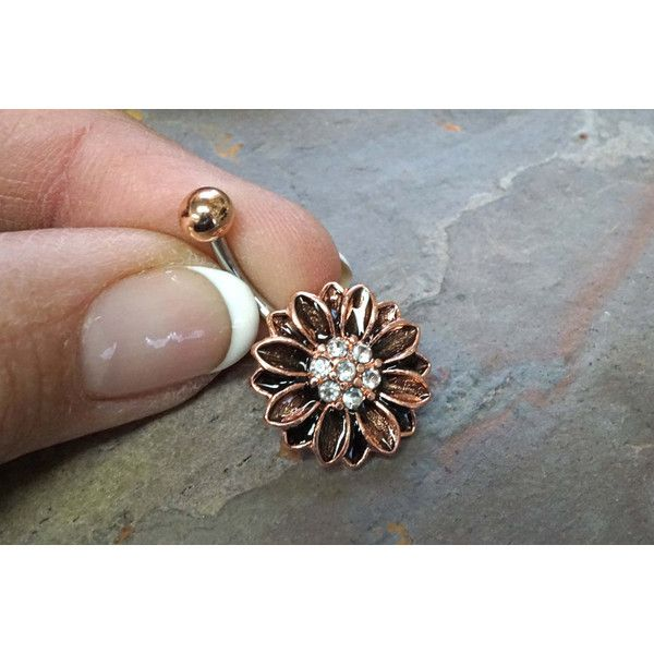 Rose Gold Belly Button Rings Sunflower Belly Ring ($14) ❤ liked on Polyvore featuring jewelry, rings, sunflower jewelry, belly rings, belly button rings, sunflower ring and belly button rings jewelry