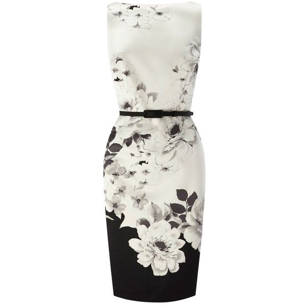 Coast Jinty Dress, Mono (5.990 RUB) ❤ liked on Polyvore featuring dresses, flower print dress, skinny belt, shift dress, coast dresses and floral day dress