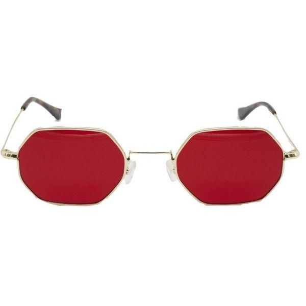 VIPER RED ❤ liked on Polyvore featuring accessories, eyewear, sunglasses, tortoise shell eyewear, gold frames glasses, red glasses, tortoise sunglasses and red lens sunglasses
