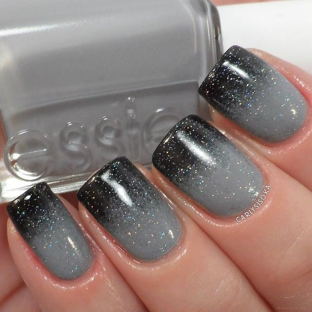 Gray ombre nail art with glitter topcoat