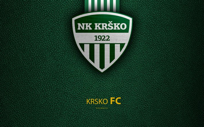 Download wallpapers NK Krsko, 4k, Slovenian football club, emblem, leather texture, PrvaLiga, Kr?ko, Slovenia, Slovenian First Football League, football