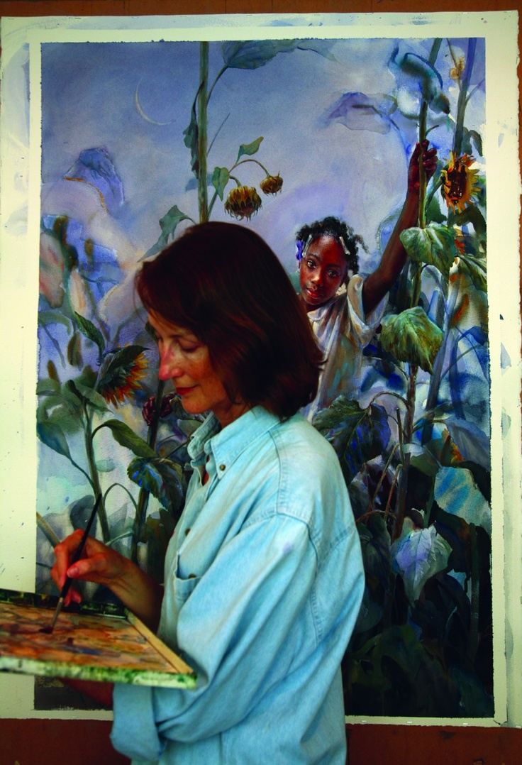 Watercolor books by mary whyte - Artist Mary Whyte Painting Last Of The Sunflowers Watercolor