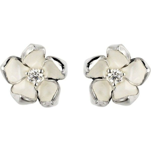 SHAUN LEANE Cherry Blossom silver, ivory enamel and diamond stud... ($535) ❤ liked on Polyvore featuring jewelry, earrings, silver stud earrings, flower stud earrings, diamond jewelry, stud earrings and flower jewelry