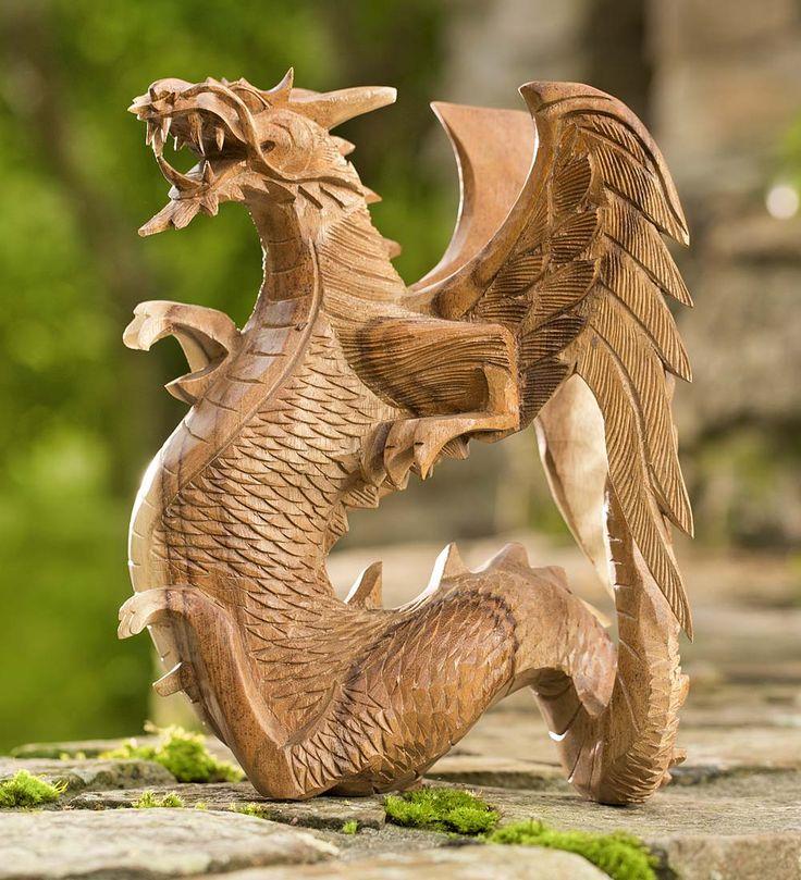 Деревянный дракон скульптура фото